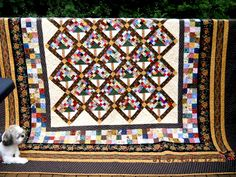 """Crab Apples quilt made by Carol Quilter from a Bonnie Hunter pattern a few years ago. To be found in her book """"Adventures with Leaders & Enders"""""""