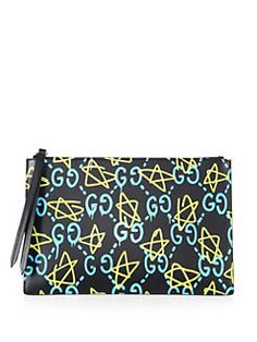 Gucci - Ghost GG Leather Pouch Gucci Sweatshirt, Suede, Leather Pouch, Star Print, Zipper Pouch, Smooth Leather, Evening Bags, Gucci Bags, Handbags