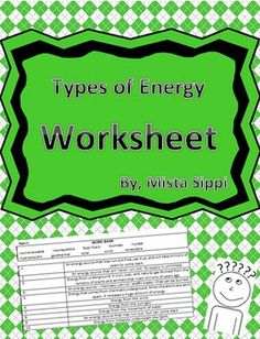 This+worksheet+is+19+questions+and+can+easily+be+used+for+any+type+of+assessment.+The+worksheet+is+broken+down+into+three+sections+that+each+have+a+word+bank+that+cover+topics+such+as+kinetic+vs+potential+energy,+radiant,+mechanical,+thermal+energy+as+well+as+energy+sources+such+as+geothermal,+hydroelectric,+wind+and+more.Mista+Sippi's+Resource+by+Mr.