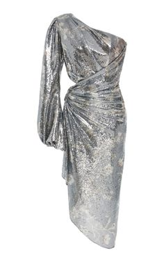 This **Johanna Ortiz** Glassy Orchid Sequin Dress features a one shoulder silhouette and single full length blouson sleeve. Gala Dresses, Evening Dresses, Short Dresses, Short Sequin Dress, Couture Fashion, Girl Fashion, Fashion Outfits, Womens Fashion, Fasion