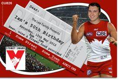 CU826 - Sydney Swans Birthday Invitation - Mens Birthday Invitations - Birthday Party Invitations - Invitations 2 Impress