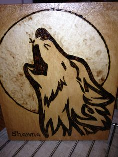 wolf in the moon by MyWoodBuringHobby on Etsy, $15.00