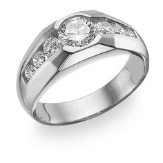 Men's 7 Stone CZ Ring, 14K White Gold