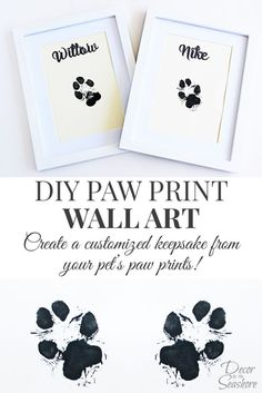 How cute is this DIY paw print wall art? What an adorable memento for their little paw prints. I so need to do this with my dogs! | decorbytheseashore.com