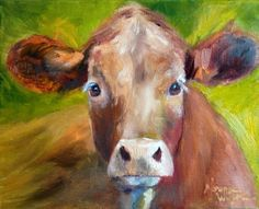 Norma Wilson Original Oil Calf Cattle Cow Farm Animal Painting Art, painting by artist Norma Wilson