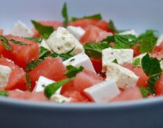 Fresh Watermelon, Feta and Mint Salad