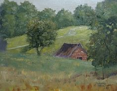 Under the Hill Barn by Tommy Thompson~ 11 x 14 Oil Original. I like to find new motifs for my paintings in the historic community of Leiper's Fork, TN, where beautiful horse farms meet a visitor around  every curve on Leiper's Creek Road. I found this barn that appears to be peeping over a hillside on one of these picturesque farms.