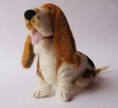 *NEEDLE FELT ART ~ Hound dog by Laleebu, via Flickr | Needle Felted/Felting Dogs | Pinterest | Felt Art, Hound Dog and Basset Hound Dog