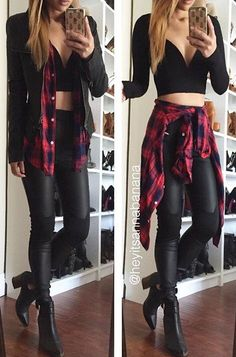 29 Stylish Street Style Looks You Need To Try - rory - Damenhosen Crop Top Outfits, Rock Outfits, Edgy Outfits, Fall Outfits, Fashion Outfits, Grunge Outfits, Cute Outfits With Flannels, Flannel Outfits Summer, Country Outfits