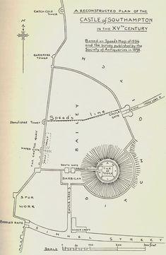 SOUTHAMPTON Castle plan Barbican, Southampton, Machine Embroidery, Maps, Castle, How To Plan, Inspiration, Biblical Inspiration, Blue Prints