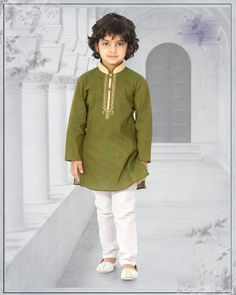 Having fabric cotton. This attire is nicely designed with embroidery work. Comes with matching bottom. Boys Party Wear, Kids Wear Boys, Kids Kurta, Baby Boy Fashion, Mens Fashion, Wedding Suits, Green Colors, Baby Dress, Moda Masculina
