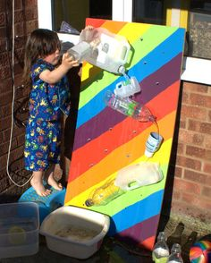 DIY Water Structure Fun - perfect for outdoor summer play! I like how the board is painted on this one. Kids Outdoor Play, Backyard For Kids, Backyard Ideas, Garden Ideas, Projects For Kids, Diy For Kids, Crafts For Kids, Montessori, Toddler Activities