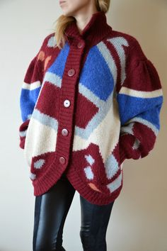 VINTAGE Oversized Cardigan Wool Multiolored by sonjasusanna