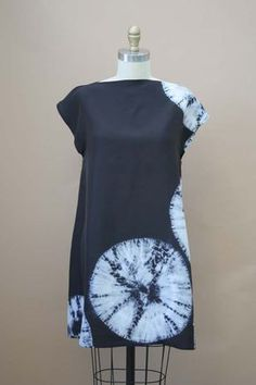 Japanese Shibori Spiderweb pattern in white on black, silk dress