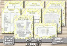 Elephant Baby Shower Games Price Is Right Word by DigitalitemsShop