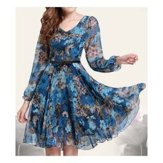 Floral Print Retro Style Puff Sleeve Chiffon Slimming Women s Dress ($27) ❤ liked on Polyvore featuring dresses, slim fit dress, puffed sleeve dress, floral print chiffon dress, floral dresses and floral day dress