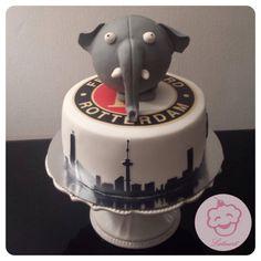 Olli taart met het Feyenoord logo en de skyline van Rotterdam  - Lataart - www.facebook.com/lataart1