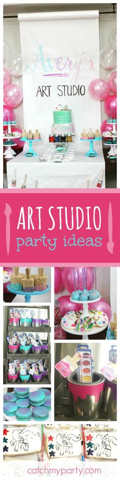 Step into this Art Studio inspired birthday party. The 'paint your self' cookies look like so much fun!! See more party ideas and share yours at CatchMyParty.com
