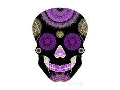 Black halloween decor purple sugar skull print by FeatherAndIndigo