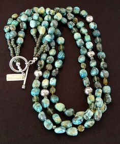 Mexican Turquoise 3-Strand Necklace with Czech Glass & Sterling Silver