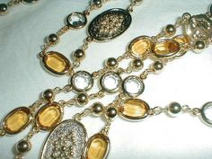 st john flat faceted topaz clear swarovski by qualityvintagejewels, $165.00