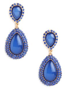 $26 Also in Citrine (amber), Purple, and Carmine (red). Feel blue and love it with this spectacular set of drop earrings. They feature brighter-than-bright blue gemstones in sleek teardrop shapes and glittering pavé finery.