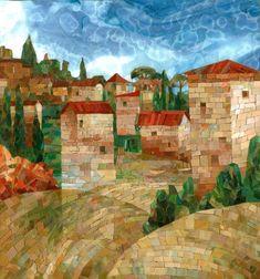 Мозаичная картина Долина красных крыш