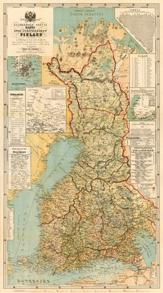 Finland map - Large map of Finland - Old map fine reproduction on paper or canvas Vintage Maps, Antique Maps, Finland Map, British Literature, Old Maps, City Maps, Historical Maps, Tour Eiffel, Fine Art
