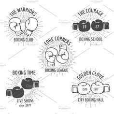 Vintage boxing logo set by Microvector on @creativemarket