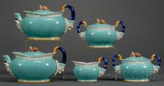 Wedgwood Majolica Five-piece Punch and Judy Pattern Assembled Tea Set | Bidsquare
