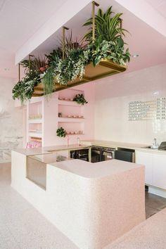"Pink modern cafe design garden modern We Know You'll Love This Cute Pink Café So ""Matcha"" Too—Take the Tour Interior Design Books, Interior Design Software, Interior Decorating, Interior Modern, Decorating Games, Pastel Interior, Retail Interior, Decorating Kitchen, Scandinavian Interior"