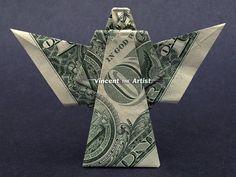 Items similar to ANGEL Money Origami Dollar Bill Religious Heavon Symbol Cash Sculptor Bank Note on Etsy Origami Letter, Origami Star Box, Origami Fish, Origami Paper Art, Origami Stars, Fun Origami, Origami Gifts, Origami Boxes, Origami Ball