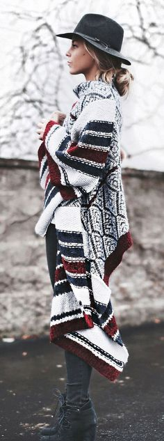 winter bohemian style addiction / hat + knit cardigan + skinny jeans + boots - The latest in Bohemian Fashion! These literally go viral!