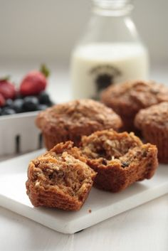 Morning Glory Muffins - Healthy and filled with carrots, raisins, apple and coconut! Super moist and a great way to start the day!