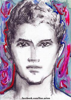 blue and rose head. facebook.com/line.arion