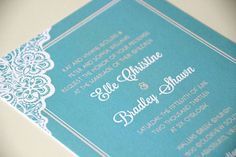 Retro Lace Daisy Wedding Invitation Suite // Turquoise Aqua and Coral Peach // by MyCrayonsPapeterie