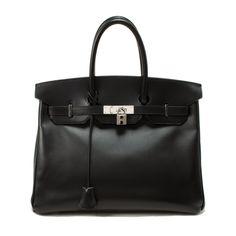 Birkin 35 - Hermès Black Leather Bag.