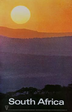 Original South Africa Travel Poster Sunset, ca 1960s. {DP Vintage Posters}