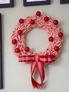 christmas wreath -- or a gorgeous solution to all the candy canes we get that no one eats. :)
