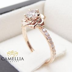 Flower Rose Unique Engagement Ring Right Hand Diamond Ring Rose Gold Band Sp. - Flower Rose Unique Engagement Ring Right Hand Diamond Ring Rose Gold Band Special Gift from camellia jewelry. Saved to Unique Engagement Ring. Engagement Ring Rose Gold, Vintage Engagement Rings, Halo Engagement, Disney Engagement Rings, Vintage Rings, Unique Rings, Beautiful Rings, Gold Bands, Fashion Rings