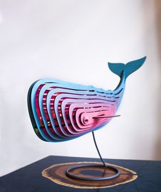 Big wooden whale lamp pink and turquoise by Paraneba - Holz Design Router Projects, Wood Projects, Lamp Design, Wood Design, Gravure Laser, Laser Cutter Projects, Cardboard Design, 3d Cnc, Laser Art