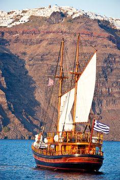 "greek-highlights: "" Sailing near the volcanic cliffs of Caldera Santorini…Greece "" Mykonos, Santorini Grecia, Santorini Island, Greek Isles, Yacht Boat, Tall Ships, Greece Travel, Beautiful Islands, Crete"