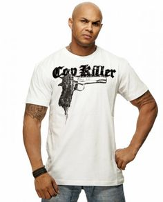 "Thug Life T-Shirt ""Cop Killa"" 9mm Weiß"