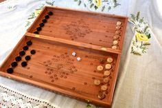 Huge Ukrainian handmade CHESS + BACKGAMMON + CHECKERS - table game in one box.  EXCLUSIVE WORK  It is a handmade piece of art Handcrafting this beautiful board demanded many hours of work: cutting the woods, carving to create the complicated patterns, then putting all these small details together in harmony to create after a long & patient work this piece of art for you.  This SUPER high quality backgammon board made of natural wood. You will be amazed by the quality and size of this ches...