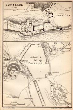 1908 Euryalus Fortress Epipolae Antique Map by Craftissimo on Etsy, €21.95