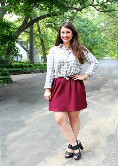 Preppy Gingham Shirt & Garnet Swingy Skirt | Fall style