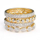 SusanB.Designs Simulated Diamond Stackable Bands Set of 4 Rings Goldplate over Sterling Silver
