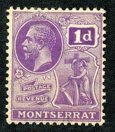 "Montserrat 1923 Scott 56 1p deep violet ""King George V"""