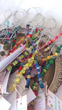 These are beaded bubble wands. Use a heavy duty wire and lots of colourful beads. Just be careful of spiky edges  when you cut and bend the wire.I added a little card with a bubble mix recipe to each wand. Sadly, these didn't sell very well. Rose Crafts, Diy Crafts, Pop Up, Bubble Crafts, Bubble Mix, Fete Ideas, School Fair, Summer Fair, Craft Stalls