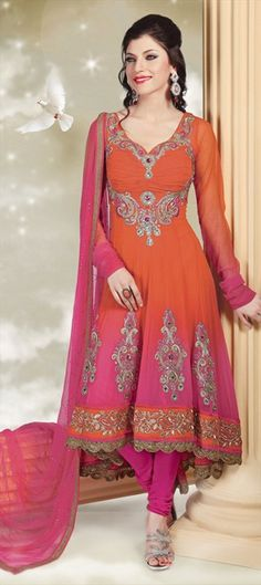 $127  Anarkali Suits, Chiffon, Patch, Zari, Thread, Lace, Zircon, Red and Maroon, Orange Color Family